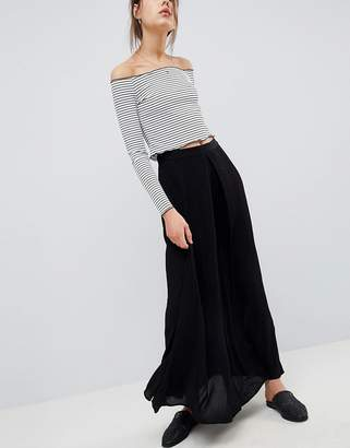 Asos Design Crinkle Maxi Skirt With Box Pleat