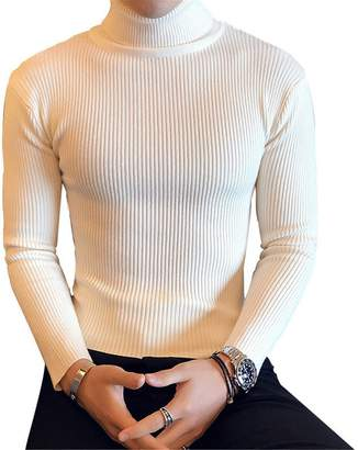 Gome-z Sweater Gome-z Men's Sweaters New New Turtle Neck Brand Sweater Male Outerwear Solid Knitted Turtleneck Pullovers Khaki M