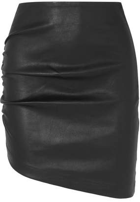 IRO Apava Asymmetric Gathered Leather Mini Skirt - Black