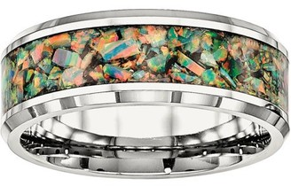 Primal Steel Primal Steel Stainless Steel Polished with Imitation Opal 8mm Men's Ring