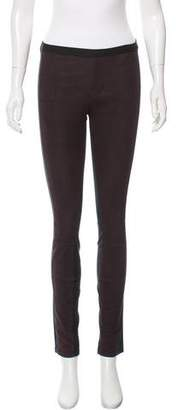 Helmut Lang Textured Leather Paneled Leggings