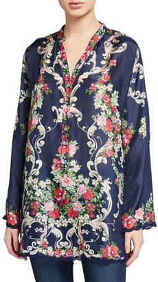 Johnny Was Hadley Floral V-Neck Long-Sleeve Silk Tunic