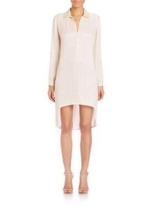 Halston Embellished Pinstripe Shirtdress