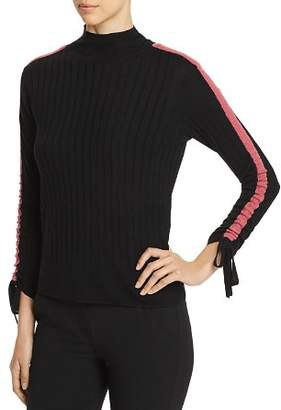 Emporio Armani Striped Sleeve & Tie Detail Wool Sweater