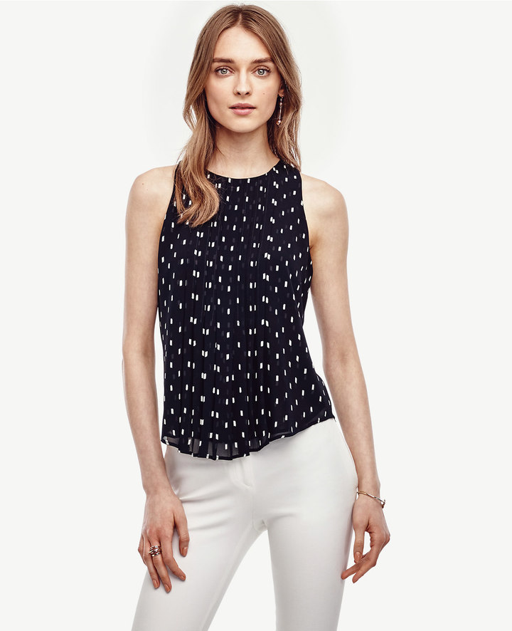 Ann Taylor Brushstroke Pintucked Keyhole Top
