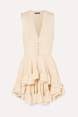 Alexander McQueen Ruffled Silk-crepe Top - Cream