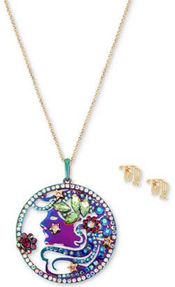 "Betsey Johnson Two-Tone Multi-Stone Virgo Zodiac Pendant Necklace & Stud Earrings Set, 21-1/2"" + 3"" extender"