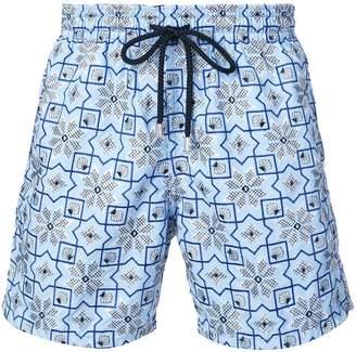Vilebrequin geometric embroidery swim shorts