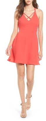 Women's Lush Cross Strap Fit & Flare Dress $39 thestylecure.com