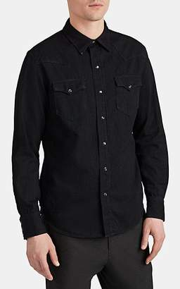 37000292 Ralph Lauren Purple Label Men's Washed Denim Western Shirt - Black