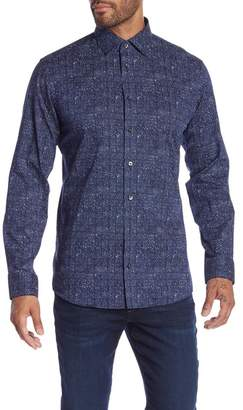 14th & Union Abstract Print Stretch Trim Fit Shirt