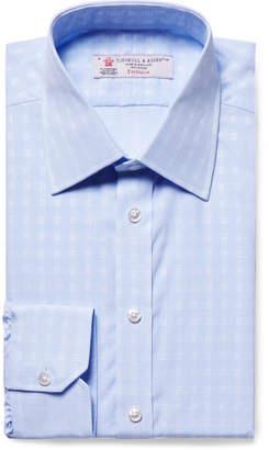 Turnbull & Asser Light-Blue Slim-Fit Checked Cotton-Poplin Shirt