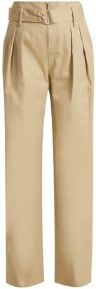 FRAME High-waist oversized cotton-twill trousers $300 thestylecure.com