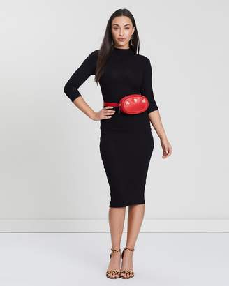 Missguided Ribbed High-Neck Midi Dress