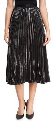 Diane von Furstenberg Heavyn Metallic Plissé Midi Skirt $348 thestylecure.com