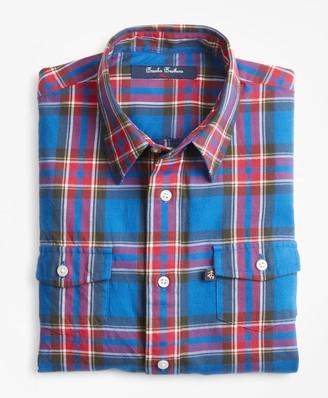 Brooks Brothers Boys Multi Plaid Flannel Sport Shirt