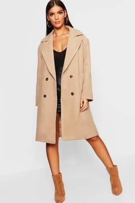 boohoo Double Breasted Oversized Wool Look Coat