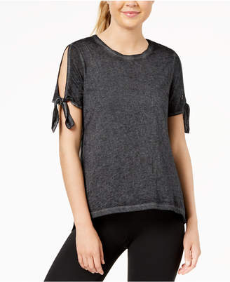 Calvin Klein Icy Wash Cold-Shoulder Vented-Back T-Shirt