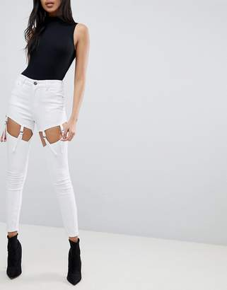Asos Design Ridley High Waist Skinny Jeans With Suspender Detail In White