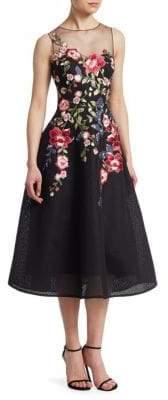 Teri Jon by Rickie Freeman Neoprene Floral Applique Dress