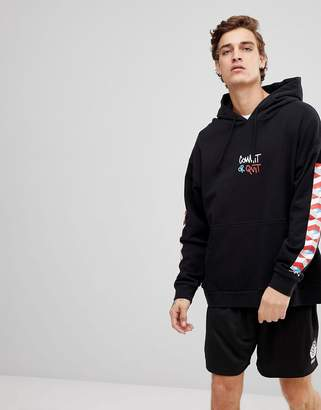 Element Commit hoodie with sleeve print in black