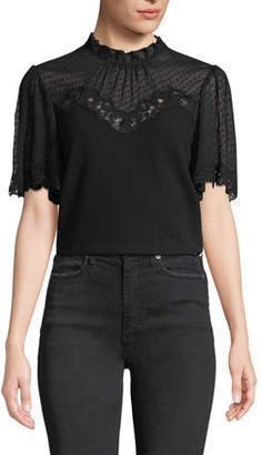 Rebecca Taylor Short-Sleeve Crepe High-Neck Lace Top