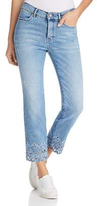 Escada Embroidered Straight-Leg Ankle Jeans in Bright Blue