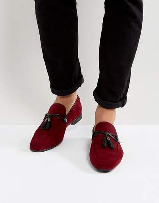 Asos Design DESIGN vegan friendly loafers in burgundy faux suede with tassel