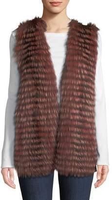 Neiman Marcus Luxury Cashmere Vest w/ Fox Fur Collar