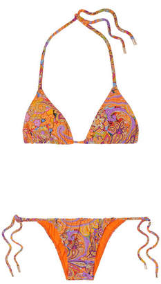 Etro Printed Triangle Bikini - Orange