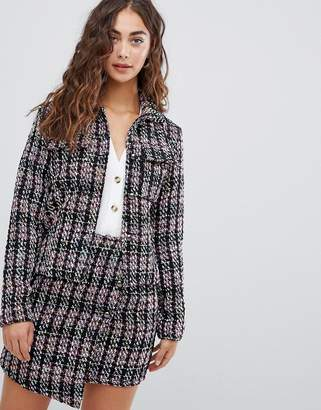 Glamorous smart jacket in textured tweed two-piece