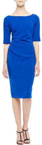 Lela Rose Deedie 3/4-Sleeve Side Ruched Dress, Cobalt