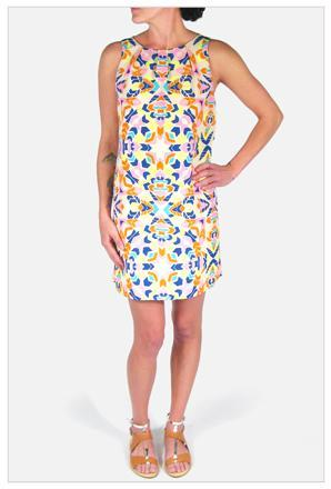 Mara Hoffman Front Pleat Shift Dress in Aloha Print