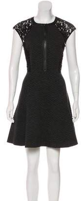 Rebecca Taylor Lace-Accented Mini Dress
