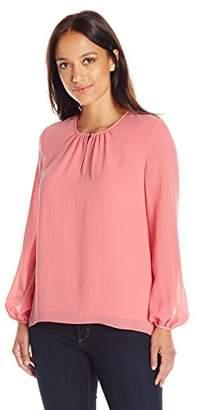 Ellen Tracy Women's Size Shirred Neck Blouse