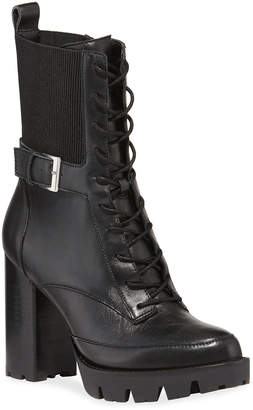 Charles David Govern Lace-Up Leather Buckle Booties