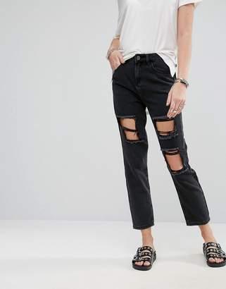 Noisy May Boyfriend Rip Ankle Cut Jeans