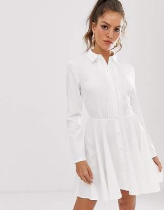 UNIQUE21 pleated front shirt dress