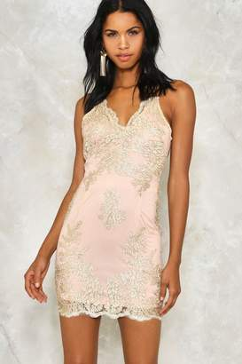 Nasty Gal Hot to Trot Metallic Lace Dress