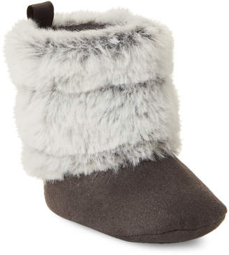 Stepping Stones (Infant/Toddler Girls) Grey Faux Fur Booties
