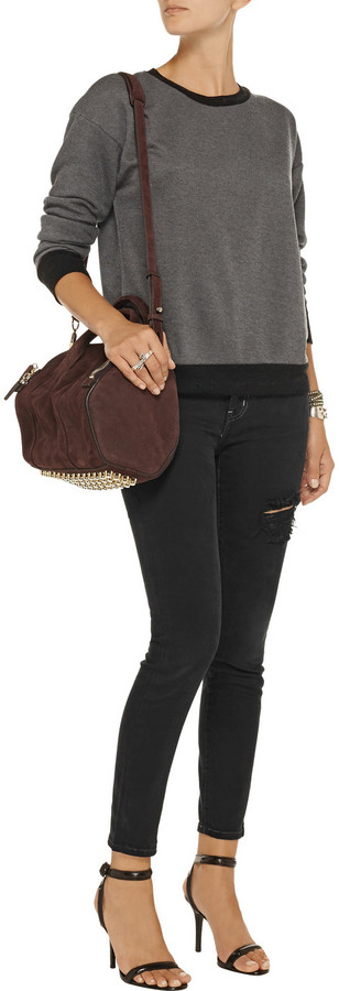 Current/Elliott The Stilletto distressed mid-rise skinny jeans