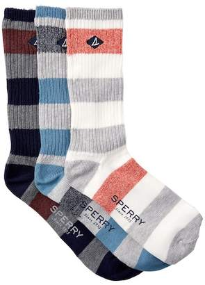 Sperry Rugby Stripe Crew Socks - Pack of 3