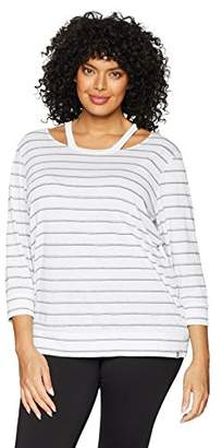 Andrew Marc Performance Women's Plus Size 3/4 Sleeve Cold clavicle Tee