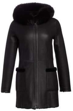 The Fur Salon Nappa Leather, Shearling& Fox Fur Jacket