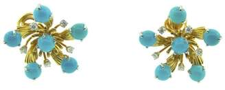 Tiffany & Co. Platinum & 18K Yellow Gold Schlumberger Turquoise & Diamond Earrings