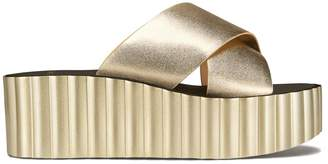 Tory Burch SCALLOP WEDGE LEATHER SLIDE