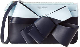 DELPOZO Mini Bow Zip Leather Clutch