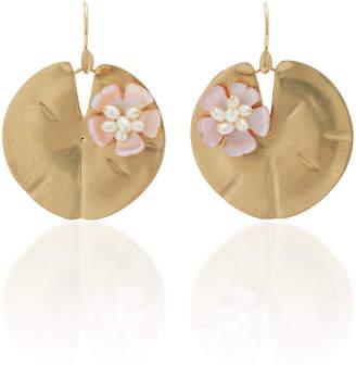 Annette Ferdinandsen Lily Pad 14K Gold and Pearl Earrings