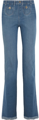 Chloé - Frayed High-rise Wide-leg Jeans - Mid denim $795 thestylecure.com