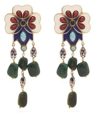 Etro Floral Bead Embellished Drop Clip On Earrings - Womens - Green